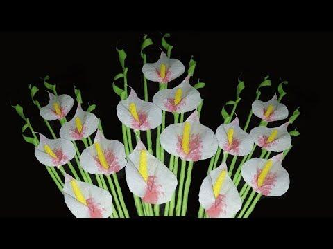 Diy Tissue Paper Stick Flower Crafts |  White Wipes Flower  | Easy Flowers Making  | Zinat Crafts