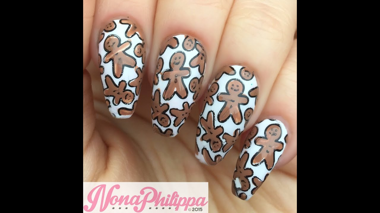 Christmas Nail Art Tutorial Gingerbread Galore: Gingerbread Men Decals Stamping Tutorial-Christmas Nail