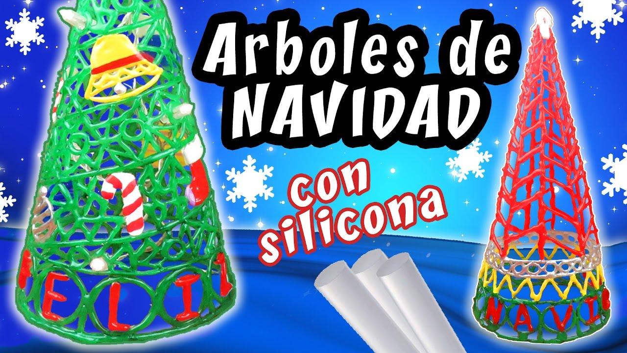 Arboles de navidad con silicona caliente manualidades - Manualidades con silicona ...