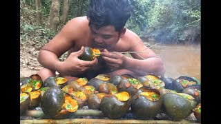 Find and cook snail in forest  Collect Snail Cooking For Food Eating delicious