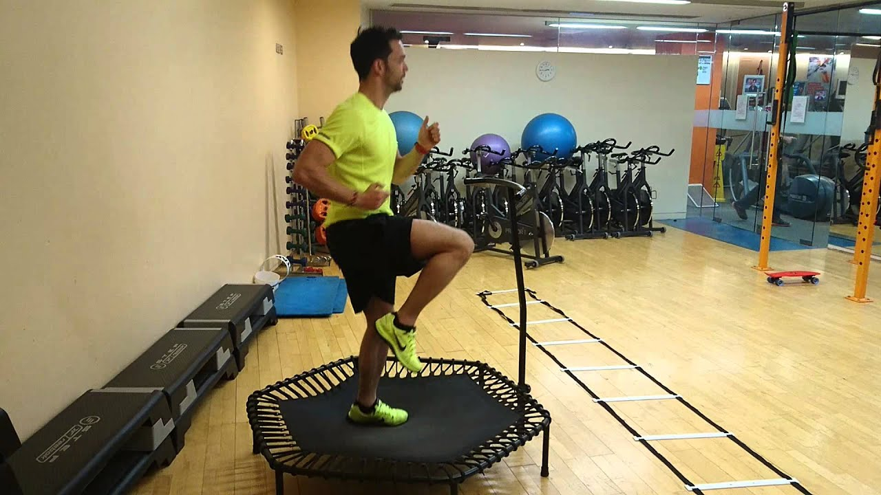 Jogging on a trampoline for low impact on joints - YouTube