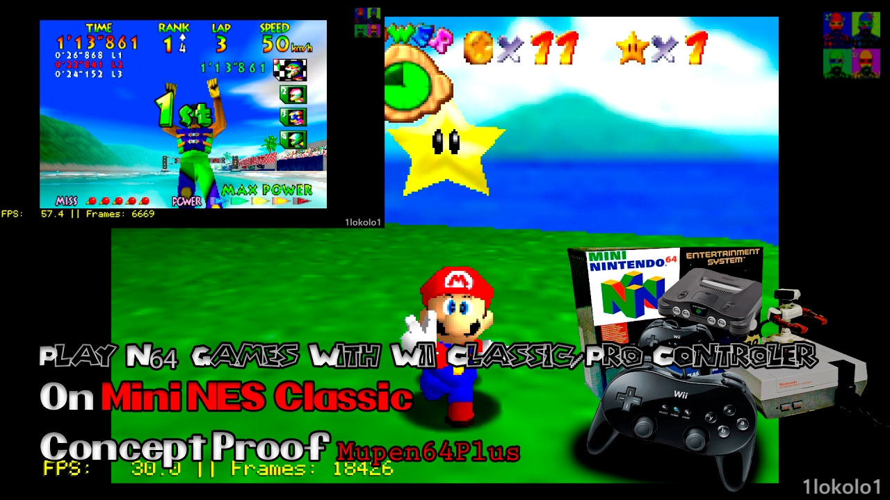 Playing Super Mario 64 on Mini NES Classic with GFX Glide64   Hakchi2 2 11  + RetroArch   Mupen64Plus
