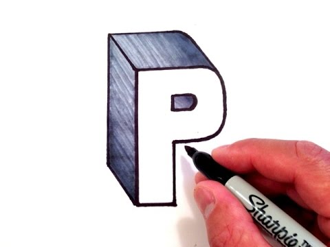 How to Draw the Letter P in 3D - YouTube