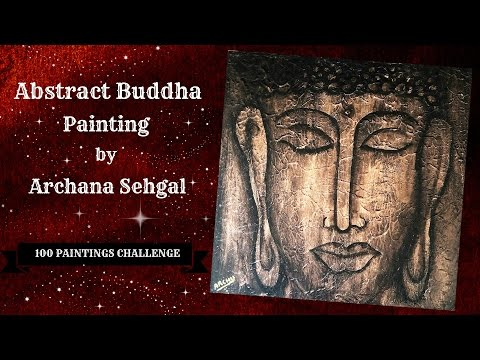 #57/ 100 Abstract Buddha Painting || Dry brush technique || 100 Paintings Challenge