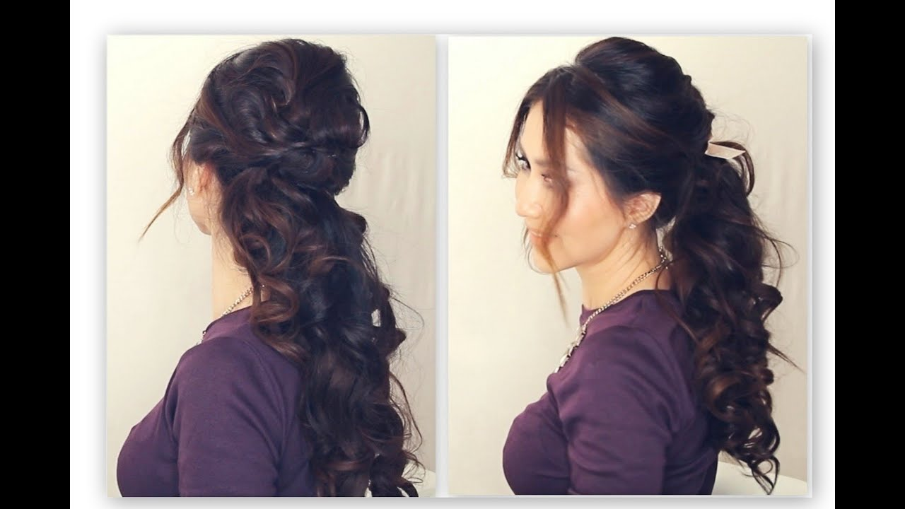 Easy Half Up Half Down Hairstyle Tutorial Fancy Prom Curly Ponytail Medium Long Hair Peinados