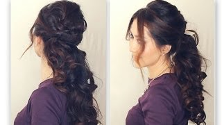 ★ EASY HALF-UP HALF-DOWN HAIRSTYLE TUTORIAL | FANCY PROM CURLY PONYTAIL |  MEDIUM LONG HAIR Peinados