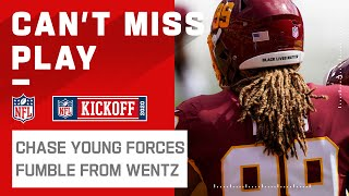 Rookie Chase Young Forces Fumble from Carson Wentz!