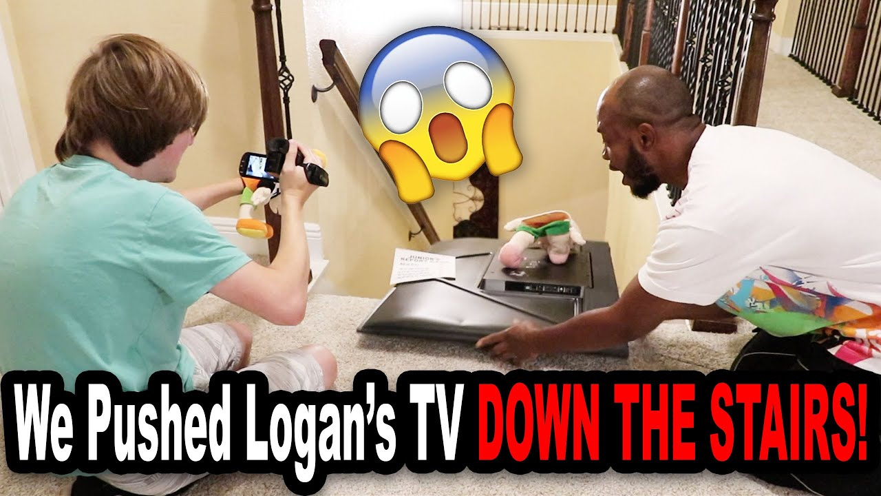 We Pushed Logan's TV DOWN THE STAIRS!!!