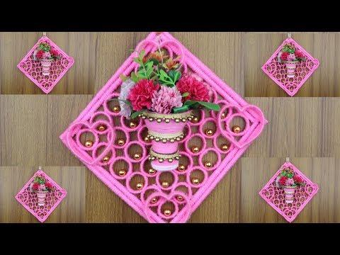 Home Decor DIY - Flower Vase Making With Empty Bottle - Woolen art and craft - Best reuse ideas