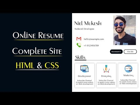 Create Online CV Website Using HTML And CSS | Make Resume Website In HTML & CSS