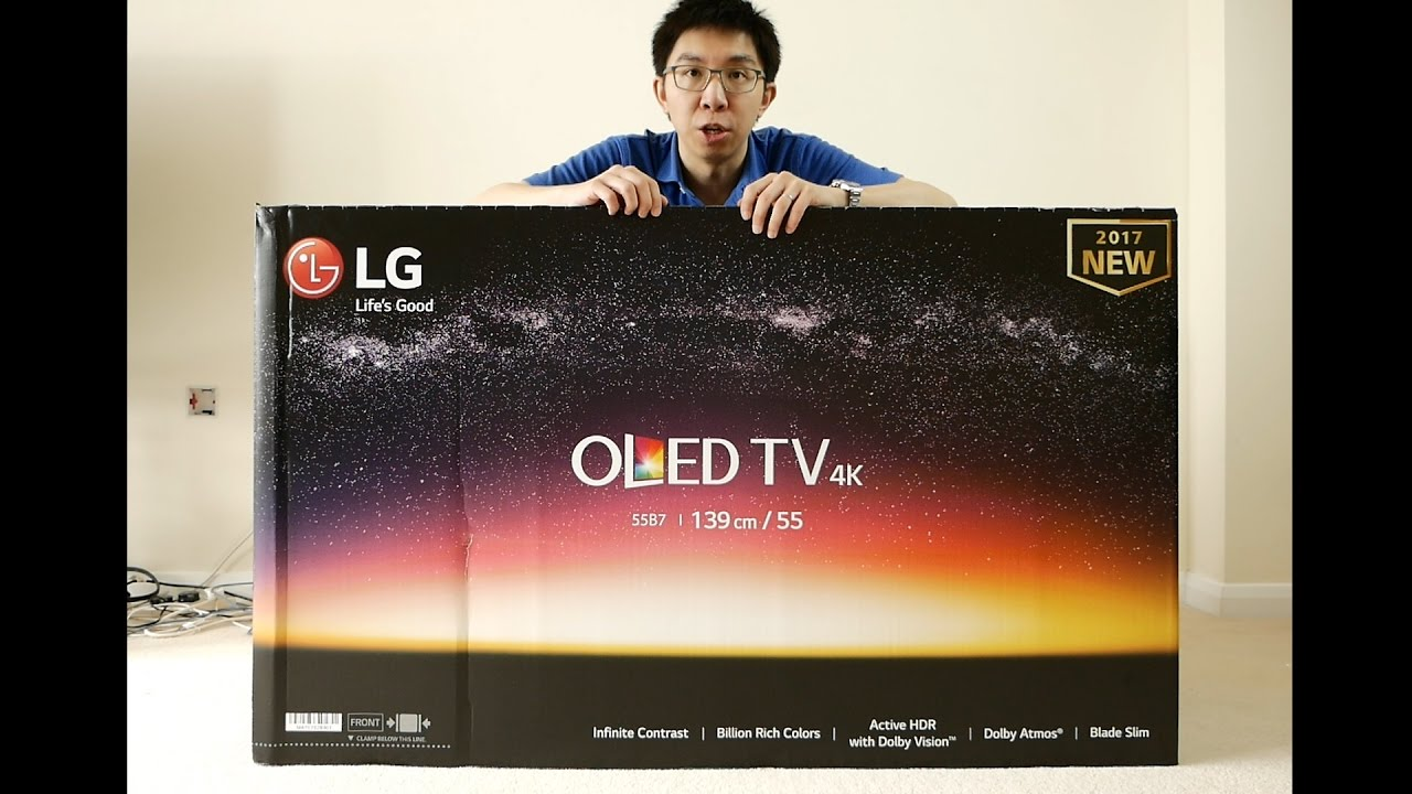 lg b7 2017 oled tv unboxing youtube. Black Bedroom Furniture Sets. Home Design Ideas