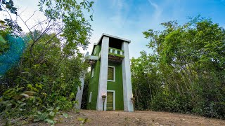 Build The Most Beautiful Three Story House Using Mud and Bamboo