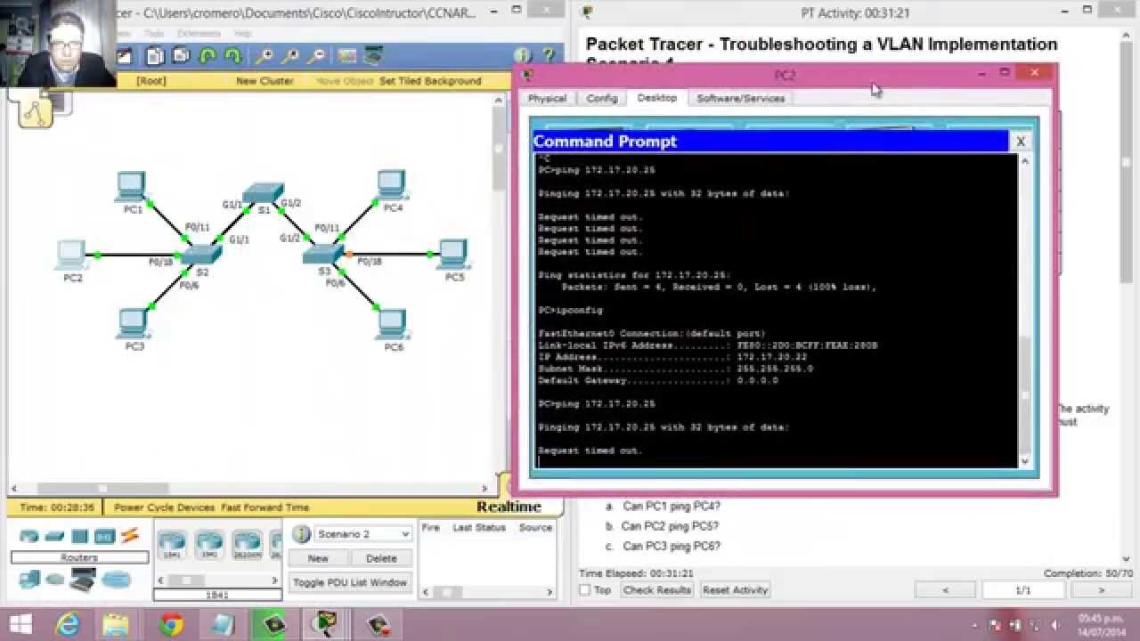 how to create a vlan packet tracer