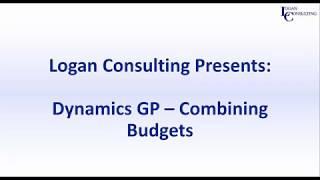 Combining Budgets in Microsoft Dynamics GP