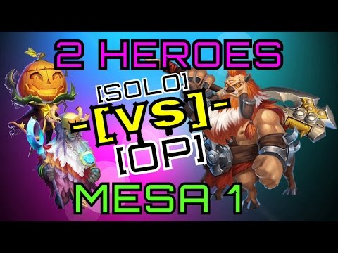 Castle Clash - 2 Heroes Vs Mesa 1! OVER POWERED PUMPKIN!