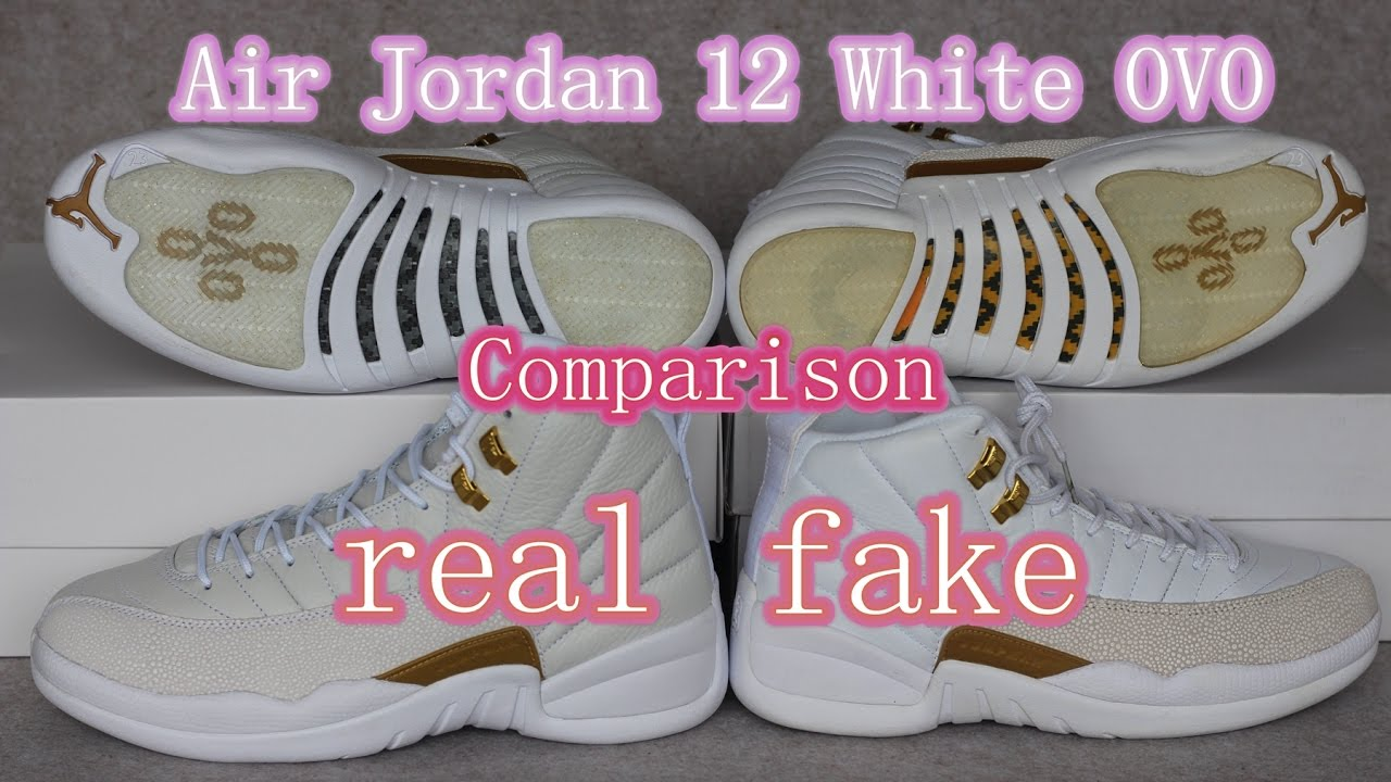 28cf63730a7 Comparison Review IIIAir Jordan 12 White OVO Real VS.Fake
