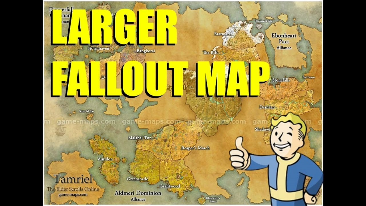 Fallout Map The Size Of Elder Scrolls Online? - YouTube