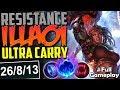 RESISTANCE ILLAOI ULTRA CARRY   AWESOME SKIN   New Runes Illaoi vs Darius TOP PBE SEASON 8 Gameplay