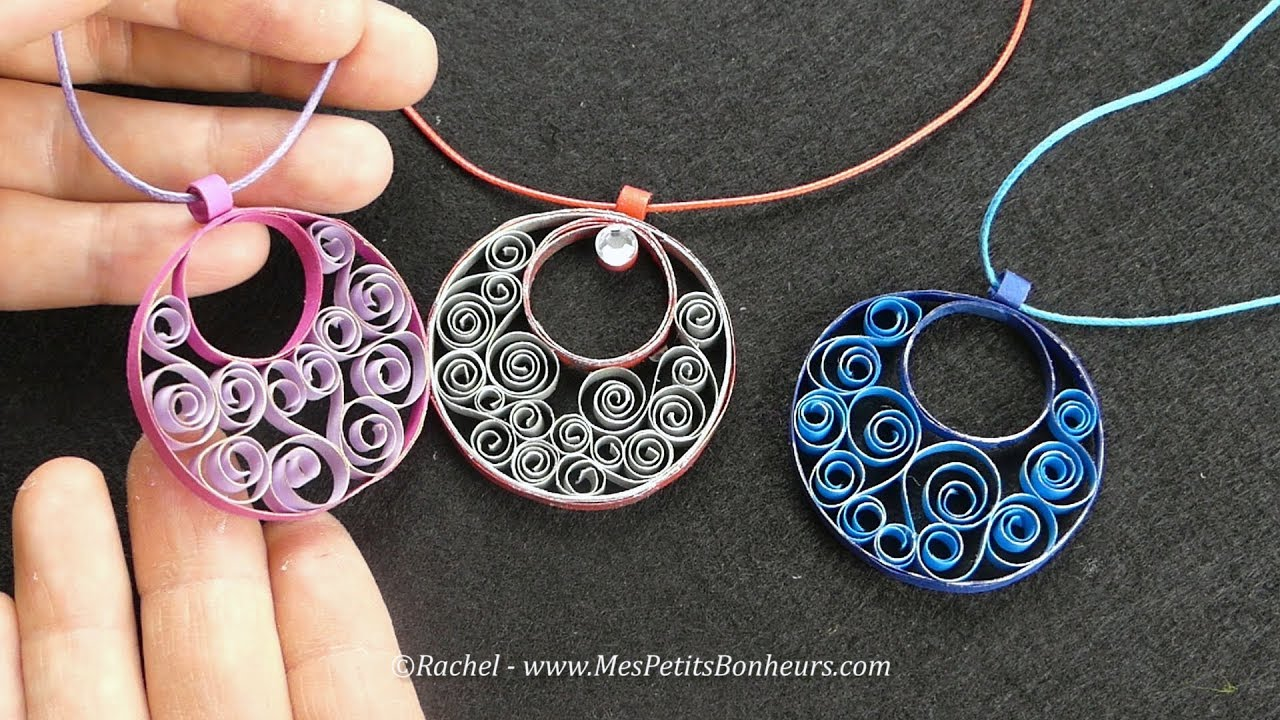 diy bijou en quilling pendentif en papier facile youtube. Black Bedroom Furniture Sets. Home Design Ideas