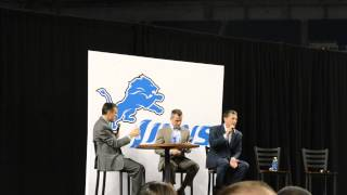 Jim Schwartz talking about music at Lions Season Ticket Holder Town Hall