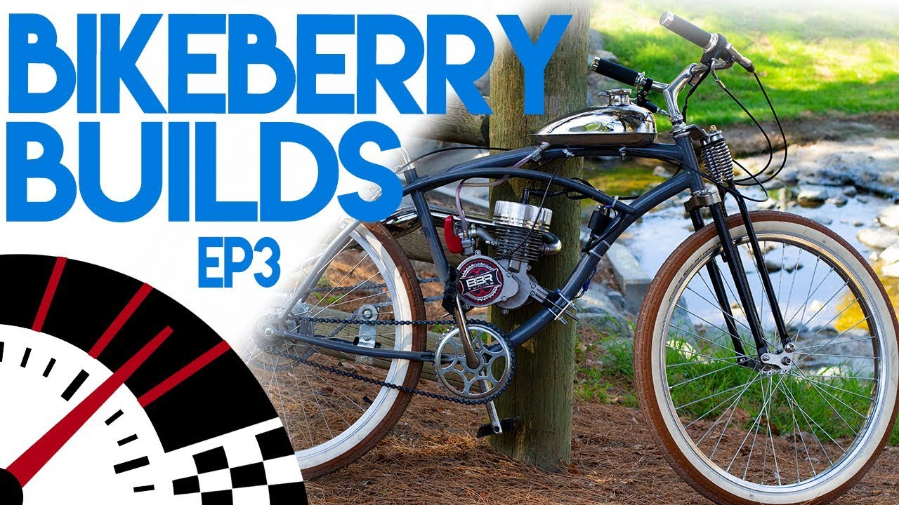 66cc 2-stroke Motorized Bicycle Build - BikeBerry Builds Ep3 - Giveaway -  80cc Moped