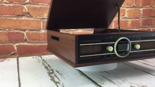 soundmaster ELiTEline PL585BR Retro FM / DAB Radio Record Player Turntable with USB Encoding (Brown)