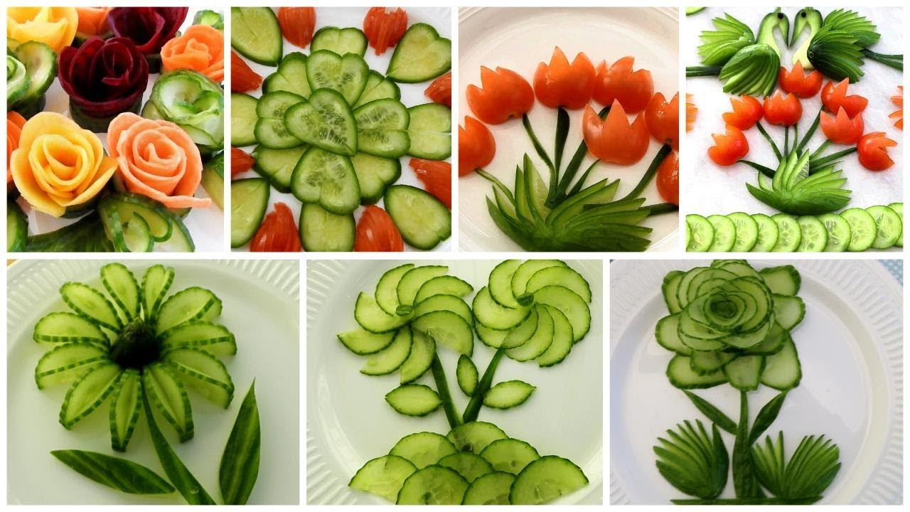 10 Super Salad Decoration Ideas Vegetable Flower Plate Decoration Youtube