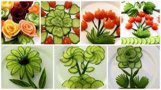 10 Super Salad Decoration Ideas - Vegetable Flower Plate Decoration