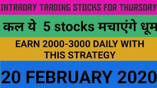 Intraday trading strategy for 20 February 2020 | With Chart Explanation | Sure Profit