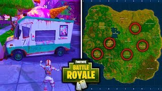 SECRET ICE CREAM TRUCK LOCATIONS IN FORTNITE: BATTLE ROYALE! [WEEK 4 BATTLE PASS CHALLENGES]
