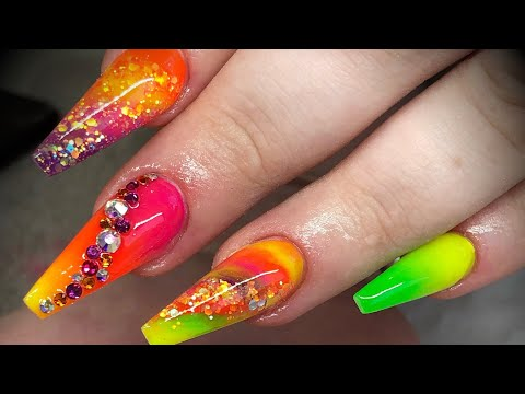 Acrylic nails - neon design set with glitter & crystals