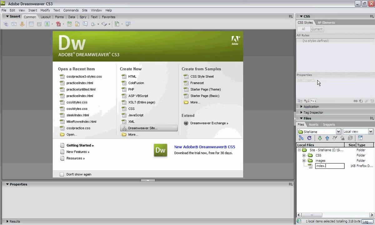 creating css website from scratch - dreamweaver cs3