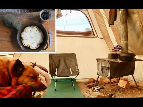 Living Off-Grid In A Tent W/ Wood Stove: Cast-Iron Cinnamon Rolls, Snowstorms, & Hiking W/ Sierra