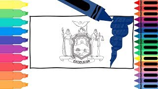How to Draw a New York State Flag - Coloring Pages for kids - Draw the New York Flag  Tanimated Toys