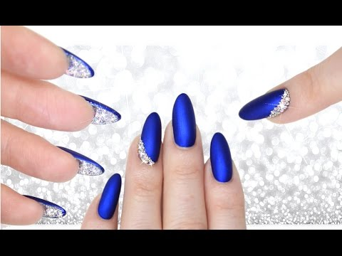 LUXE BLUE VELVET & DIAMOND PEEKABOO NAILS - DOUBLE SIDED MANI ...