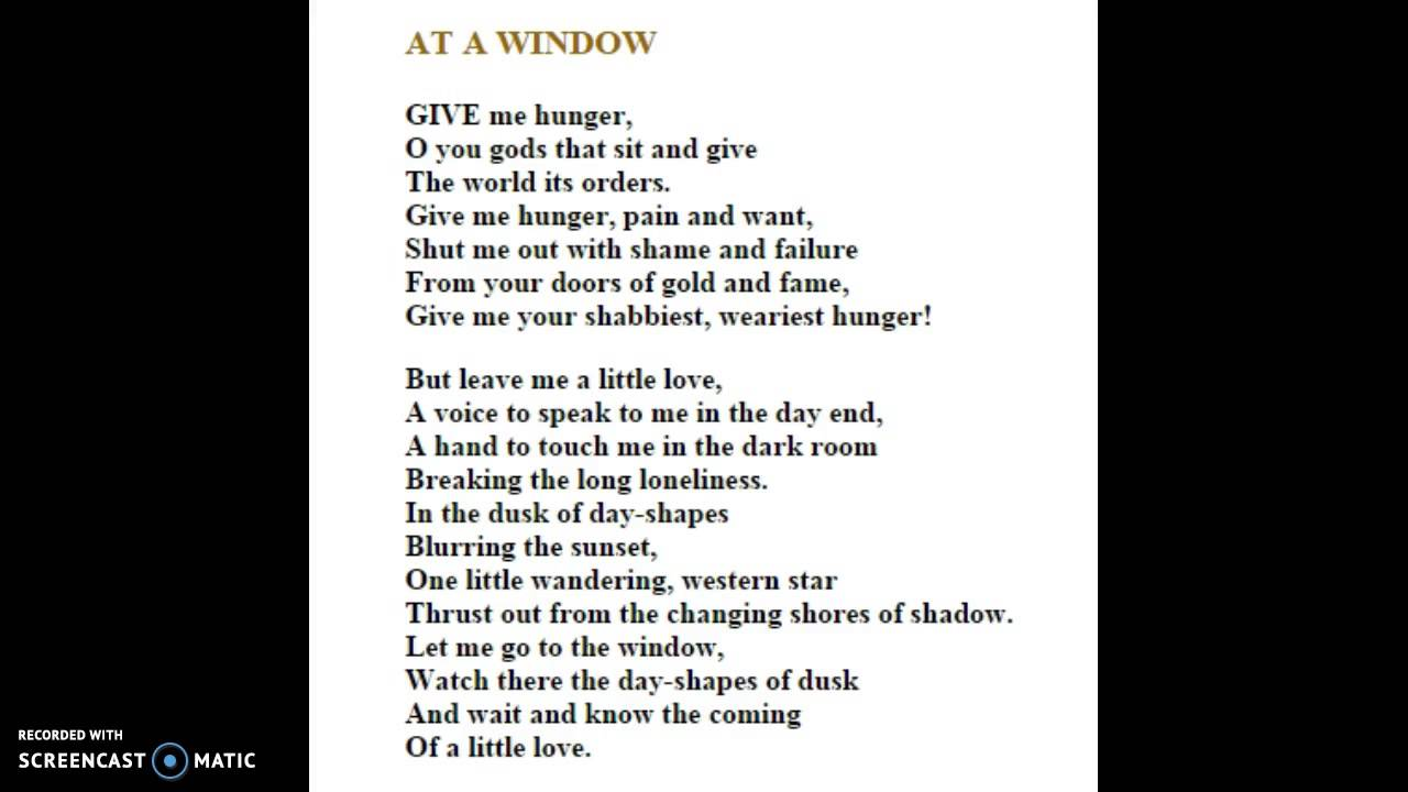 At a window by carl sandburg
