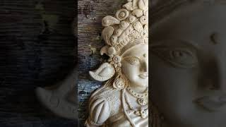 Goddess Lakshmi's sculpture with natural white clay