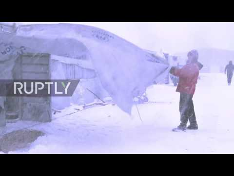 Greece: Refugees suffer freezing temperatures as heavy snowfall hits Thessaloniki camp