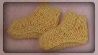 детские, домашние носочки на двух спицах.  вязание спицами