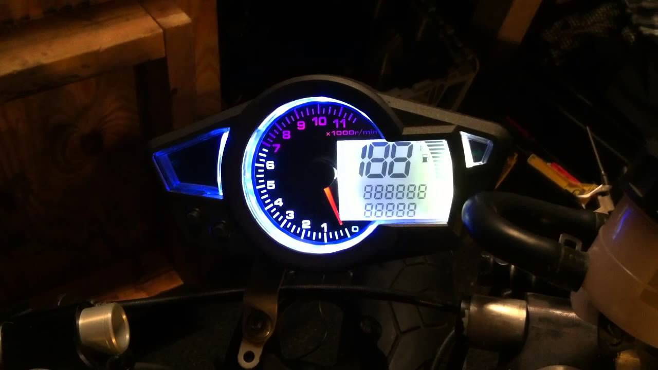 chinese replica of koso rx1 gauge test on my 2004 honda cbr 600 f4i [ 1280 x 720 Pixel ]