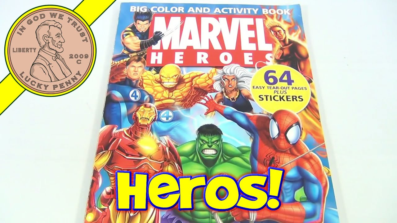 Marvel Heroes Coloring Book, 2005 - Fantastic Four, Spiderman, Hulk ...