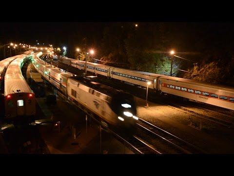 Amtrak Xtra 844 w/ 10 Viewliner II Baggage Cars @ Poughkeepsie (Hudson Line)