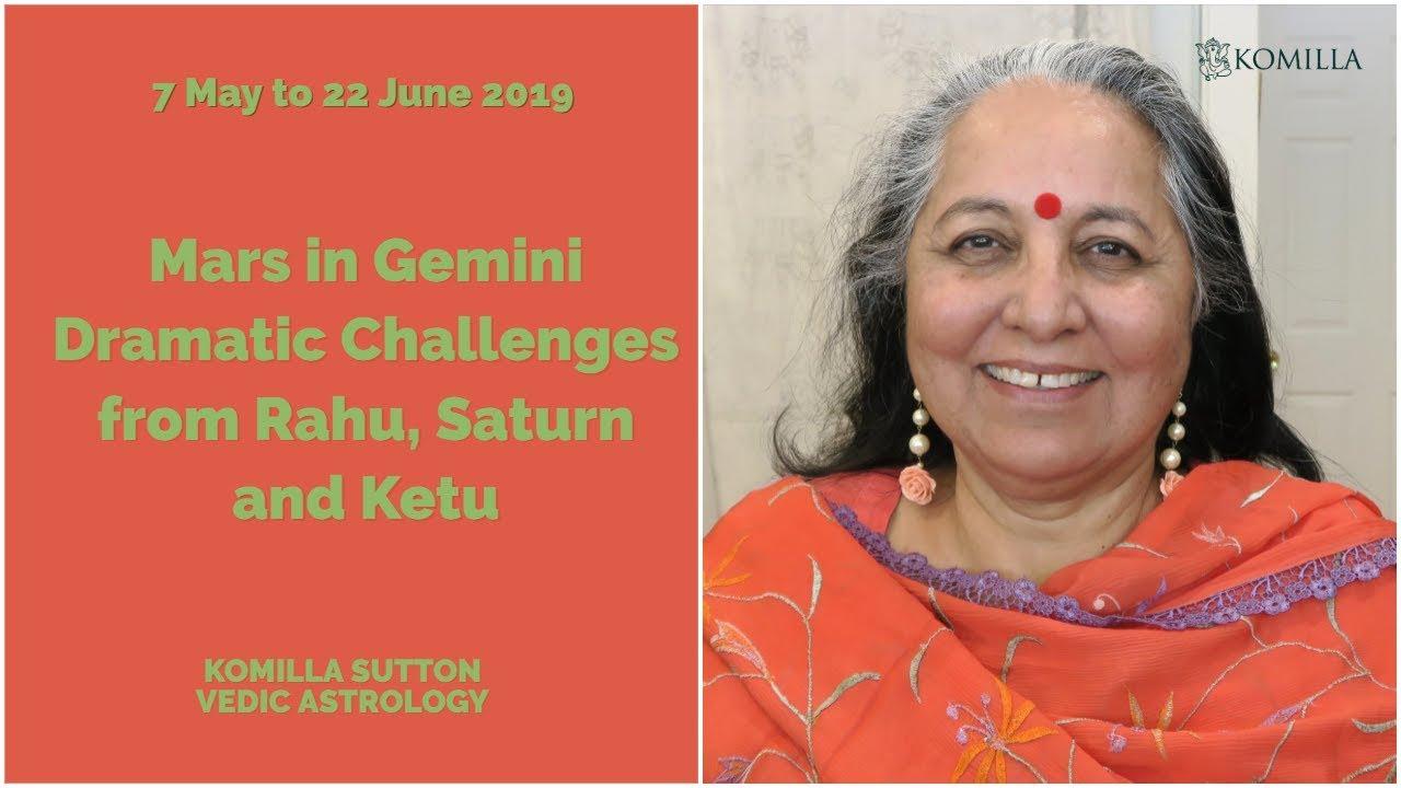 Mars in Gemini - Dramatic Challenges from Rahu, Saturn Ketu: Komilla Sutton