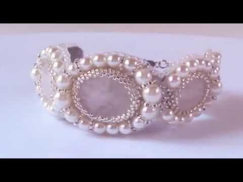Rose Quartz Pearls Wedding Bracelet by #THJewels