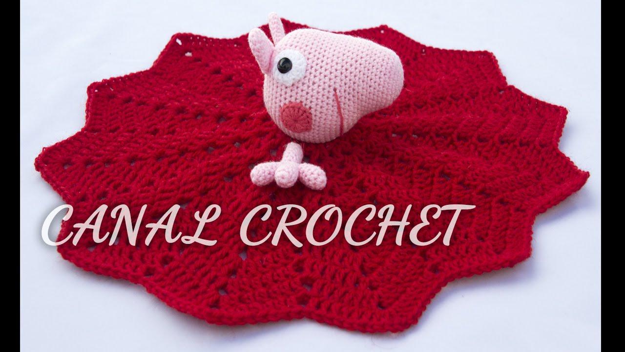 How To Crochet Peppa Pig Purse Bag Free Pattern Tutorial By Marifu6a : Mantita de apego Peppa Pig tutorial. FunnyCat.TV