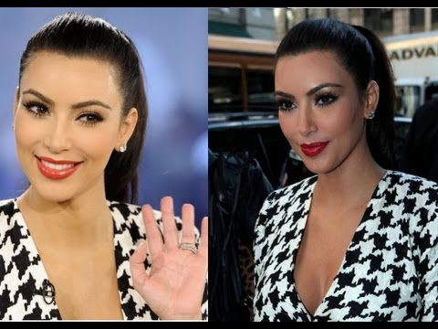 ♡ Kim Kardashian Red Lips&Brown Smokey Eye Tutorial ♡  #Trend
