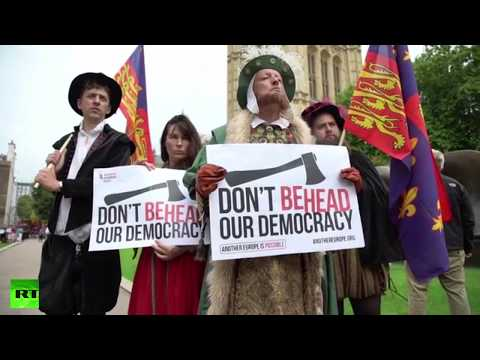Henry VIII & his wives protest Tory EU bill