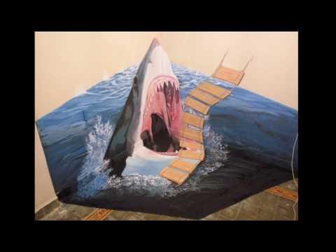 3D Shark Mural Art | Wall Painting 3D