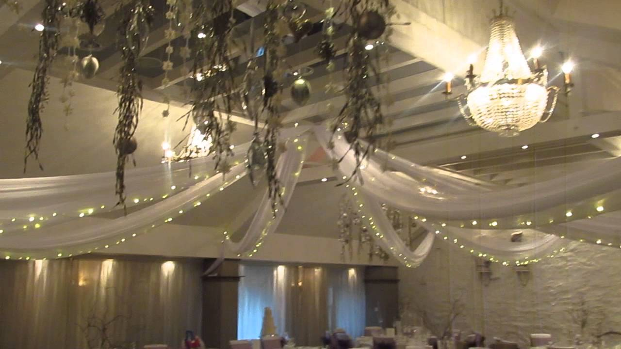 Ceiling drapes with lights, wedding reception at Stanley ...