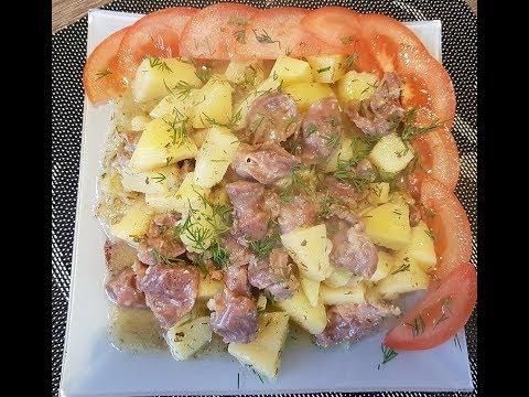 Куриные желудки с картофелем/Chicken Stomachs With Potatoes